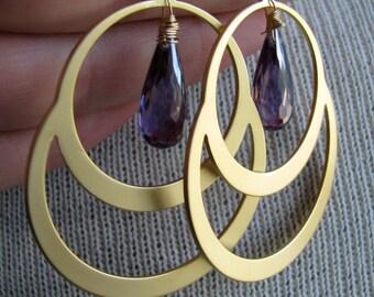 VALERIE-Golden Circle Chandelier with Purple Cubic Zirconia