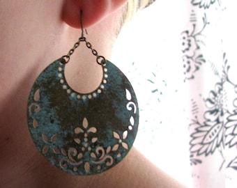 BOHO-Bohemian Teal Patina Brass Crescent Medallion Earrings