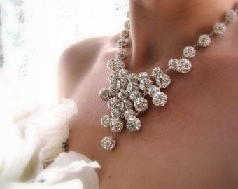 ISADORA-Swarovski Crystal Ball Bib Style Bridal Necklace