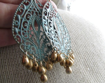 GIADA-Teal Filigree Medallion Chandelier Earrings with Metallic Glass Drop Beads