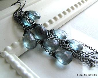 SPLASH-Teal Blue Quartz Cascading Long Earrings