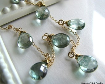 SEAFOAM-14Kt Gold Chain and Blue Green Quartz Briolettes Necklace