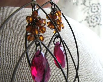 DAPHNE-Fuchsia and Orange Copper Swarovski Crystals and Gunmetal Chandelier Earrings