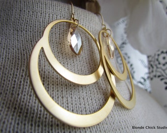 CAROLINE-Golden Circle Chandelier Earrings with Golden Pear Shape Swarovski Crystals