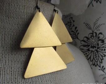 NORTH-Vintage Brass Arrow Triangle Tribal Chandelier Earrings
