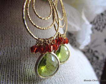 AUTUMN-Layered Golden Teardrop Earrings with Framed Peridot Glass Stone & Burnt Orange Swarovski Crystals