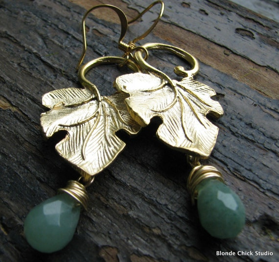 SALE-Golden Ivy Leaf Earrings with Green Aventurine Briolettes