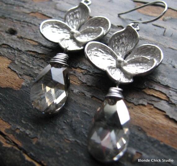 GLORIA-Silver Blossom with Silver Shade Swarovski Crystal Earrings