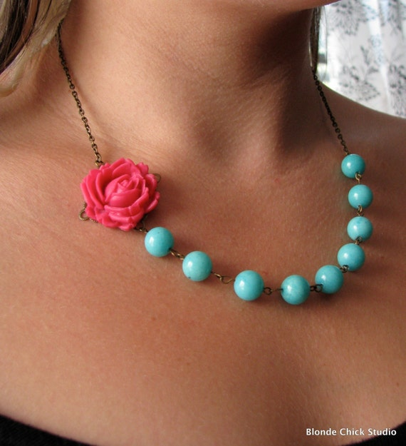 PIPER-Pink Rose Cabochon with Teal Bead and Bronze Necklace