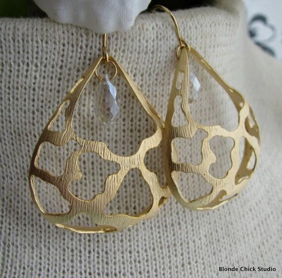 CHERYL-Gold Ornate Domed Teardrop Earrings with Swarovski Crystals