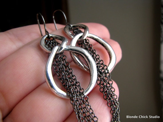 DARLING-Antique Silver Link and Gunmetal Chain Earrings