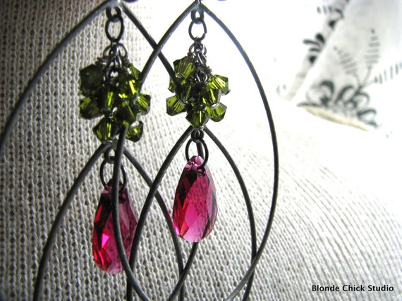 GERBER-Fuchsia and Olivine Swarovski Crystals and Gunmetal Chandelier Earrings