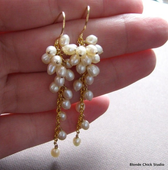 ELLA-Cluster of Pearls Cascading Bridal Earrings