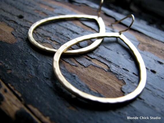 SIMPLY-Matte Gold Hammered Teardrop Hoop Earrings