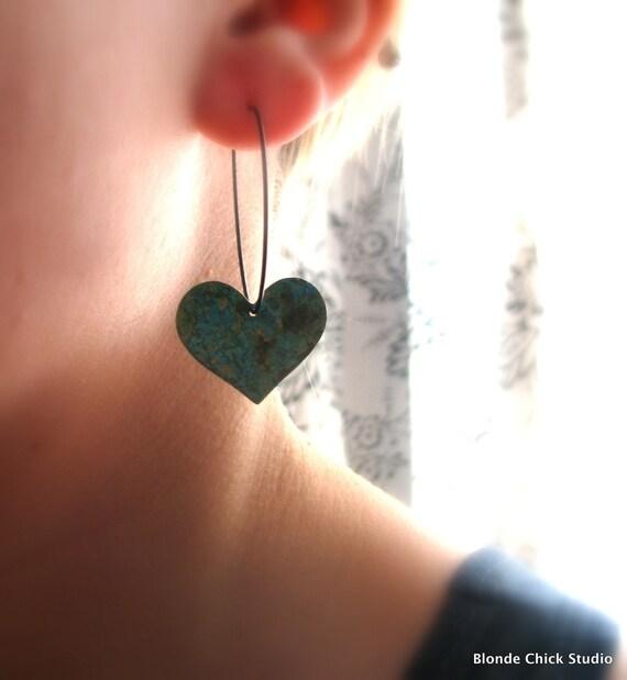 HEART-Patina Copper Whimsical Heart and Black Hoop Earrings