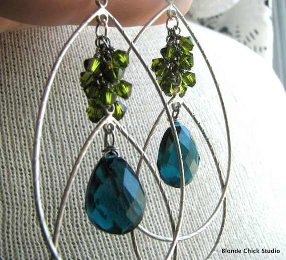 PLUME-Olive Green Swarovski Crystals and Peacock Teal Blue Quartz Silver Chandelier Earrings