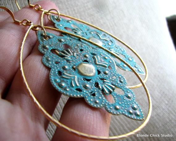 DOLLY-Teal Diamond Moroccan Filigree Gold Teardrop Hoop Earrings