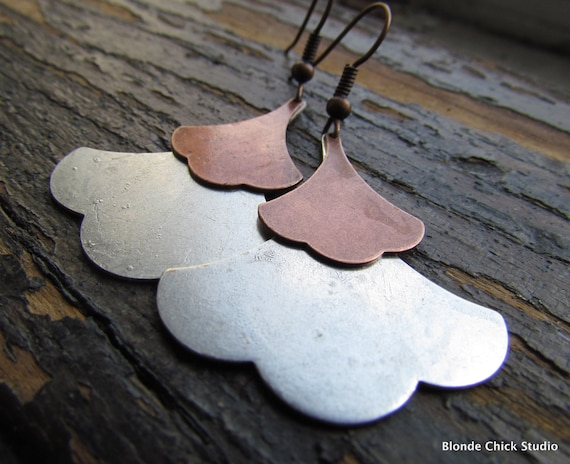 SARAH-Silver and Raw Brass Layered Ginkgo Leaf Chandelier Dangle Rustic Nature Earrings