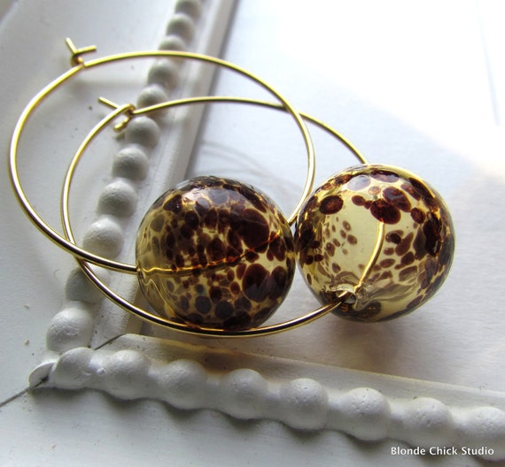 SPOT-Hollow Amber Leopard Glass Bubble Hoop Earrings
