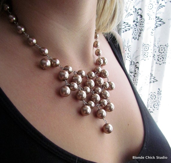 HELENA-Brown Champagne Mauve Glass Pearl Silver Bib Style Necklace