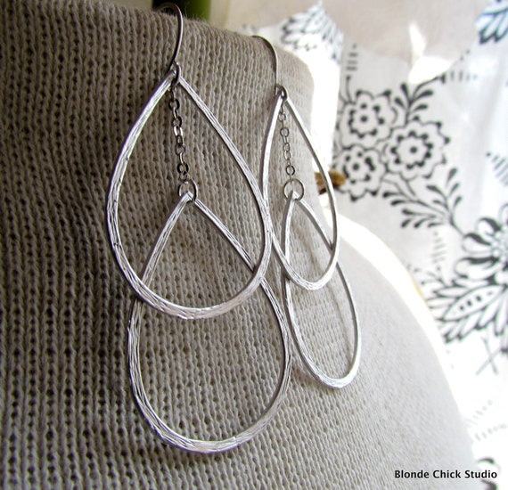 DROPS-Double Silver Teardrop Chandelier Earrings