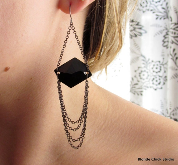 SULTRY-Black Flat Back Swarovski Crystals and Gunmetal Chain Earrings