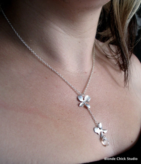 Double Blossom with Crystal Y Necklace
