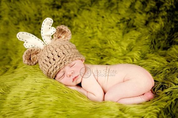 Baby Deer Hat - Newborn - 3 month 6 month - Photo Prop - Hunting Hat - Deer Hat With Antlers - Bitty Buck