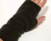 Hand Wrist Arm warmers - Dark Olive Green Fleece for LADIES