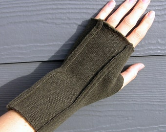 Fingerless Gloves / Mittens for LADIES - Mocha Charcoal Gray (Insides Out)