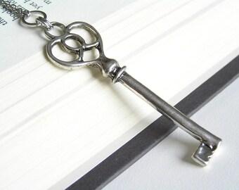 SALE Vintage Key Silver Long Necklace