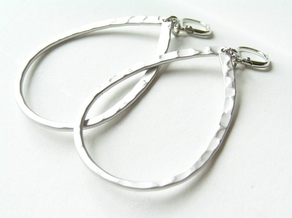 SALE Silver Tear Drop Hoop Earrings