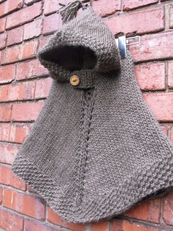 Items similar to Hand Knit Hooded Wool Poncho Size 1 to 2 ...
