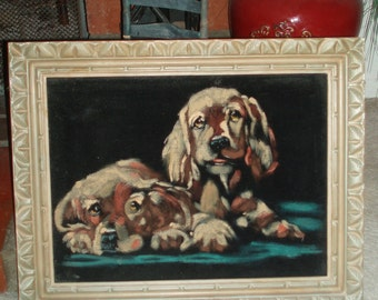 Vintage 1970s Velvet Art Painting Of Two Cute Puppies