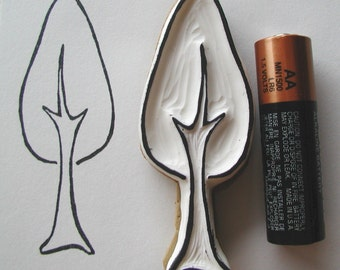 little tall tree nature hand carved rubber stamp