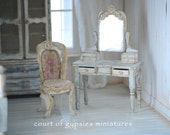 Darling Dollhouse Miniature Shabby French Vanity Dresser and Handmade Chair