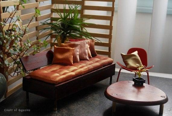 Dollhouse Miniature Mid Century Modern Sofa Lounge