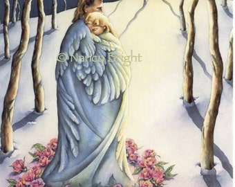 The Warmth of Honest Love- In snow, encircled by roses and a feather blanket, a couple embraces