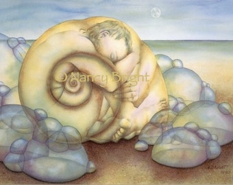 Inside This Shell Of Mine-  A human figure nestled inside a nautilus shell amidst sea foam bubbles