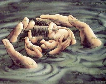 Cradle Of Love- Cradled in the hands of the Divine, mother and child are loved and protected.