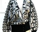 80s Geometric Sweater Jacket, New Wave, ethnic print, women