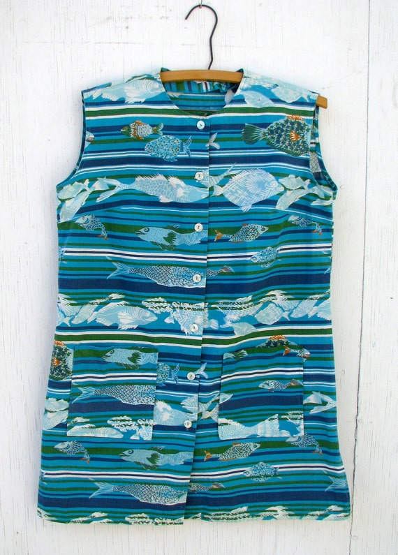 1950s Vintage top, Fish, Nautical Print