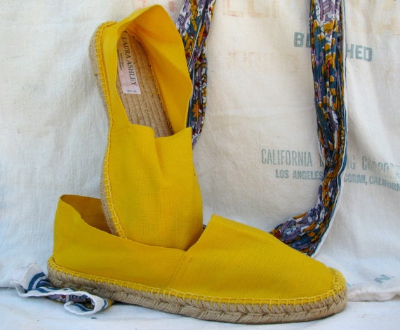 1980s shoes, bright yellow espadrilles, summer, size 9