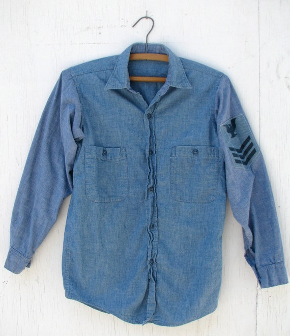 1950s Chambray Us Navy Work Shirt Blue Cotton Wwii