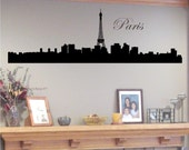Wall Decal Paris Skyline Silhouette with Eiffel Tower - Vinyl Wall Art Wall Decal Sticker