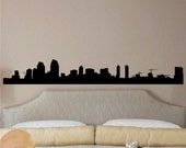 San Diego Skyline Wall decal 11 inches tall by 80 inches long Vinyl Wall Art Sticker