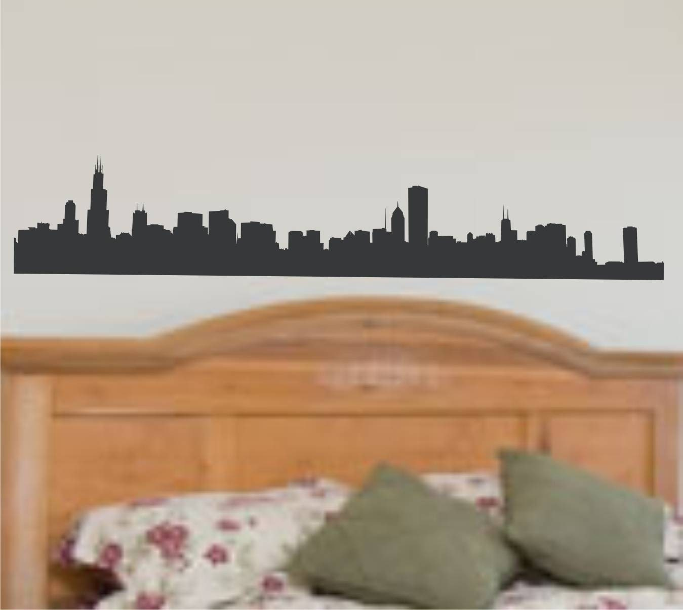 Wall decal chicago skyline silhouette vinyl by for Good look chicago skyline wall decal
