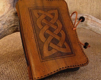 A7, Mini, Leather Bound Journal, Celtic Knot Journal, Celtic Plait, Brown Leather, Leather Notebook, Pocket Notebook, Personalised Diary.