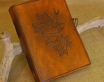 A5, Medium, Leather Bound Journal, Swallow and Heart Tattoo, Brown Leather, Rustic Wedding Guestbook, Leather Notebook, Personalized.