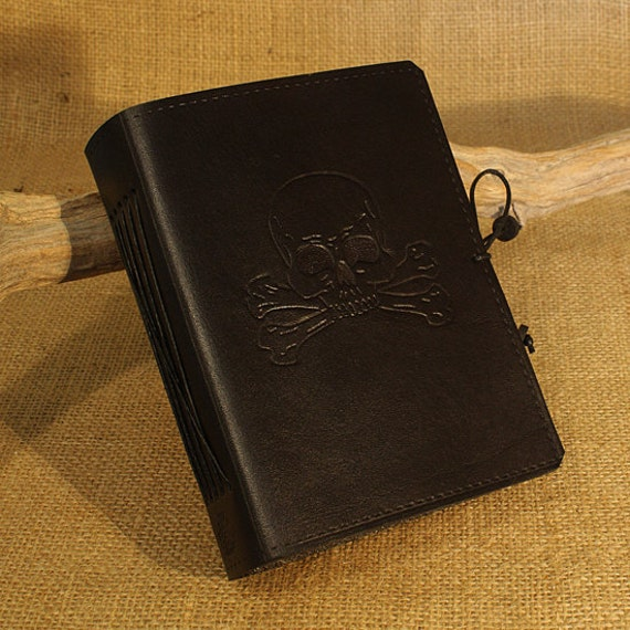 A6, Standard, Leather Bound Journal, Skull and Crossbones, Pirate Journal, Black Leather, Ships Log, Leather Notebook, Personalized Diary.